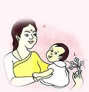 Image of Child making sound and  responding to  sound