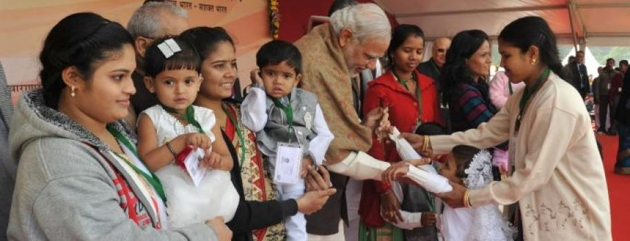Honorable Prime Minister Shri Narendra Modi meeting Cochlear Implantees of AYJNISHD(D) at Varanasi
